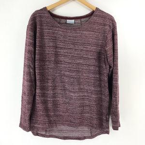 Columbia L Maroon Heathered Thin Knit Sweater Top